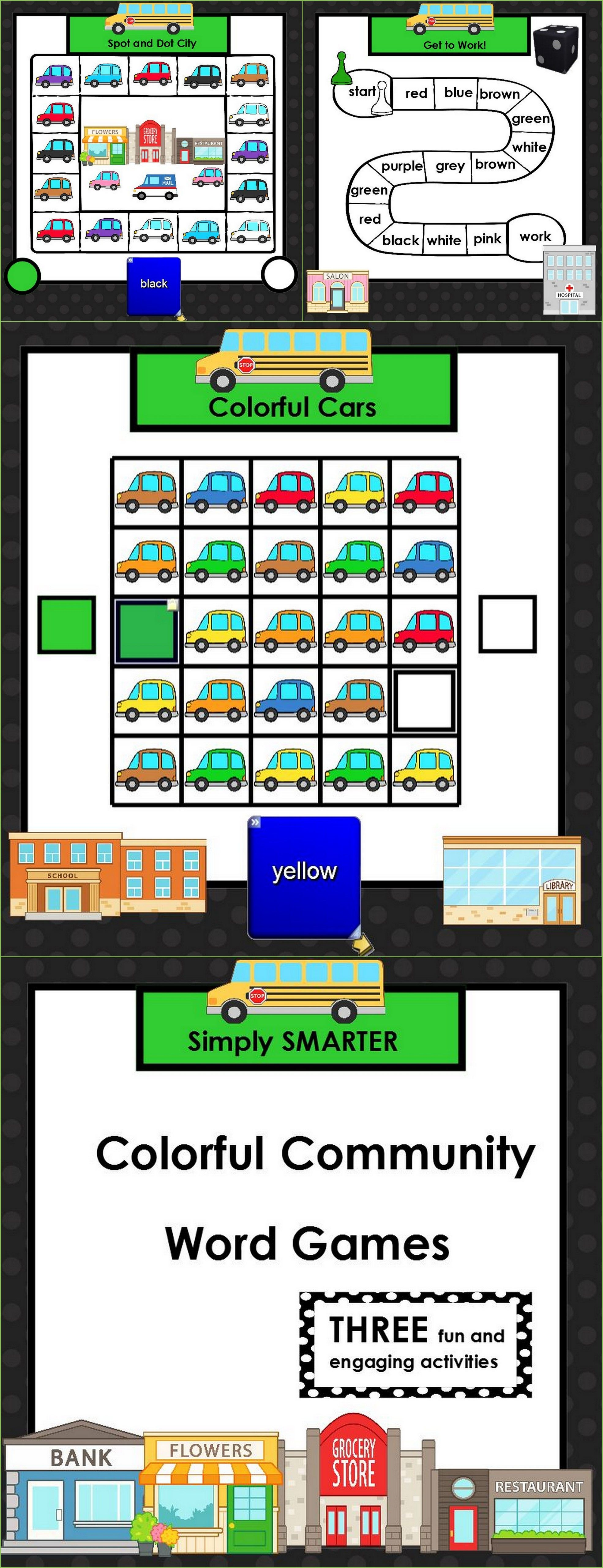 Colorful Community Words: SMARTBOARD Color Word Games | Literacy ...