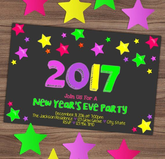 new years eve glow party invitation new years kids invite neon colors bright glow in the da