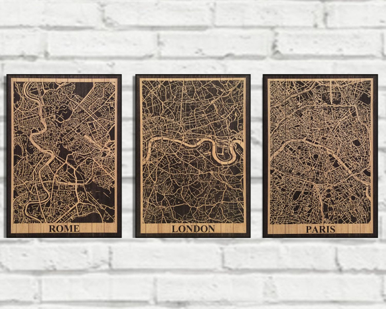 WOOD EUROPE CAPITAL City Map print set
