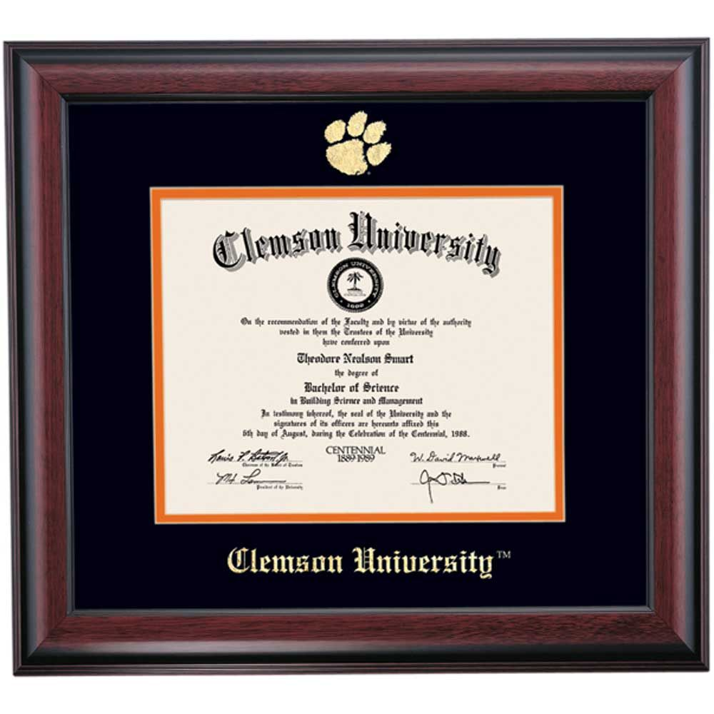 Clemson School Color Traditional Diploma Frame | Diploma Frames ...