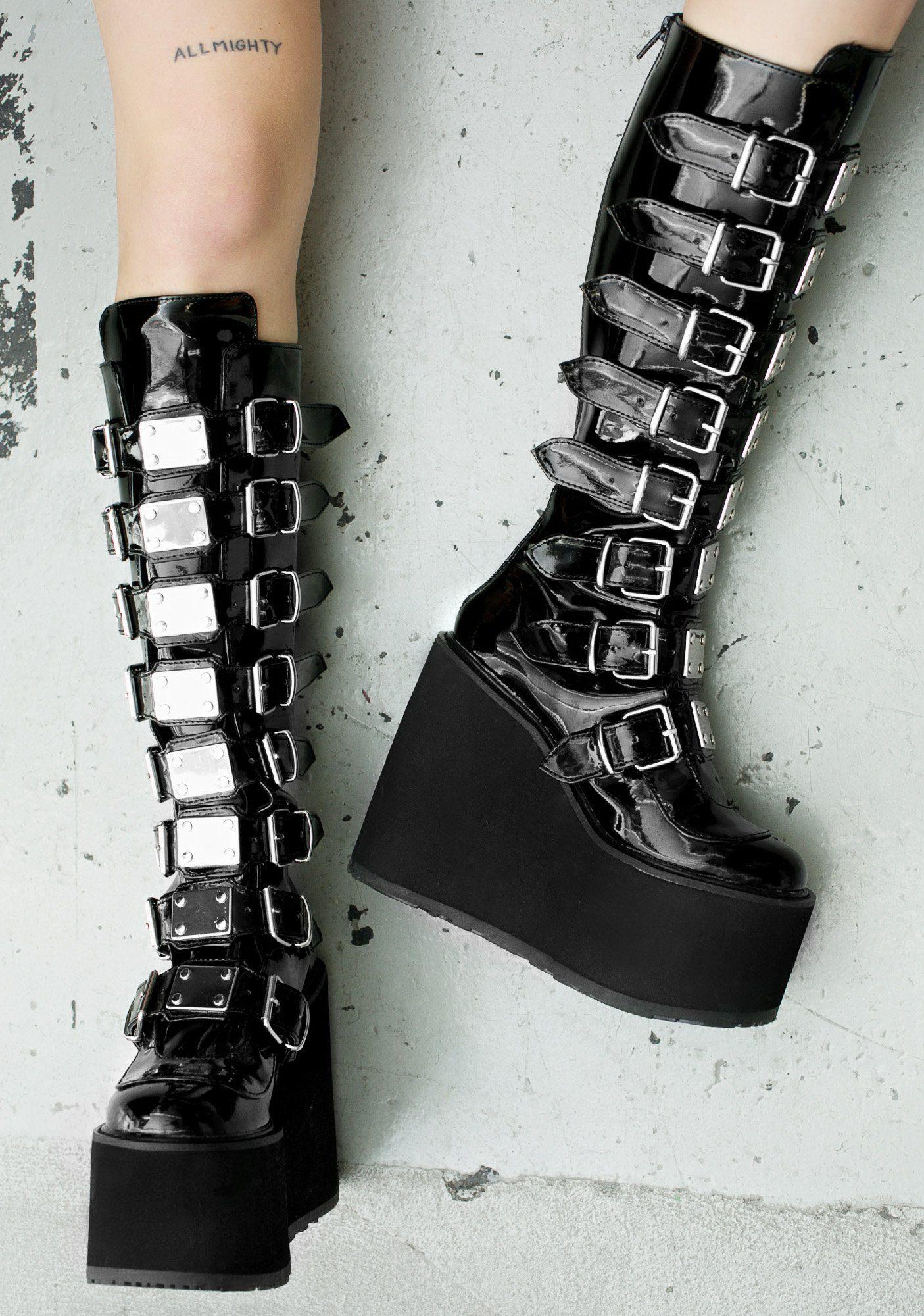 Demonia Patent Trinity Boots  4378f4bfff