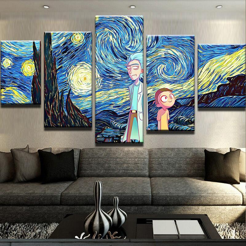 Starry Night Rick And Morty Customized Canvas Art Canvas Art Wall Decor Wall Art Painting