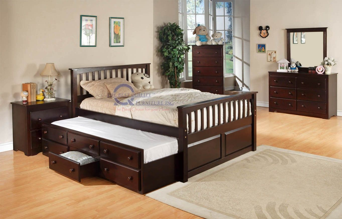Cappuccino Finish Kids Full Wood Caption Bed With Trundle And Drawers Bed With Drawers Underneath Full Bed With Storage Bed With Drawers