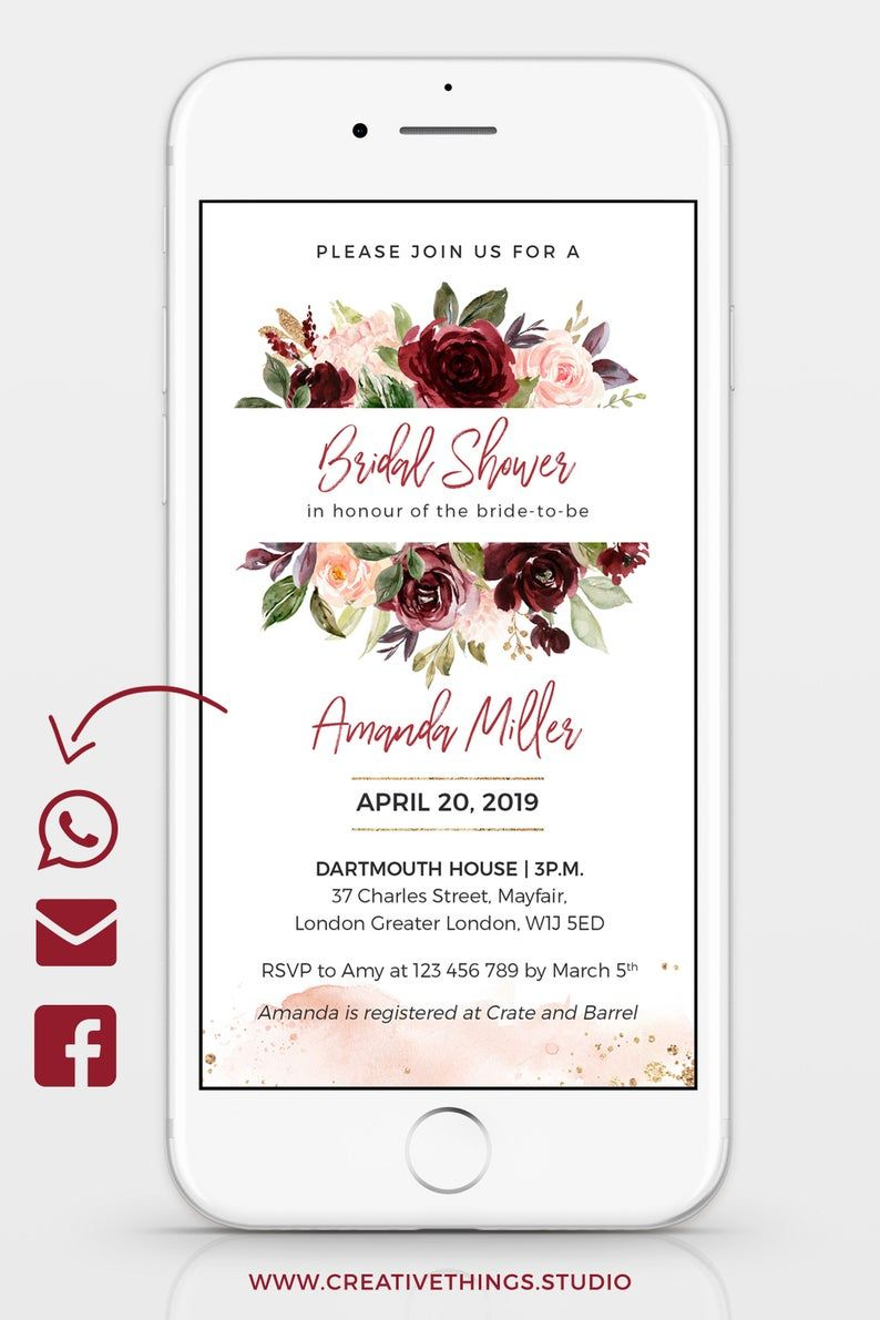 If You Are Looking For A Floral Bridal Shower Invitations Check Out This Unique B Unique Bridal Shower Invites Electronic Invitations Bridal Brunch Invitations