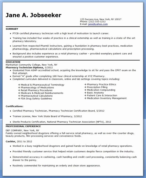 25 entry level pharmacy technician resume in 2020