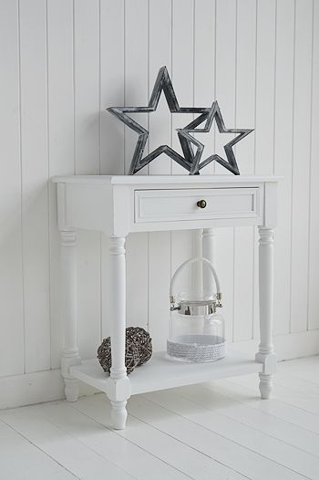 Cove Bay White Small Console For White Furniture In Coastal Homes And  Interiors