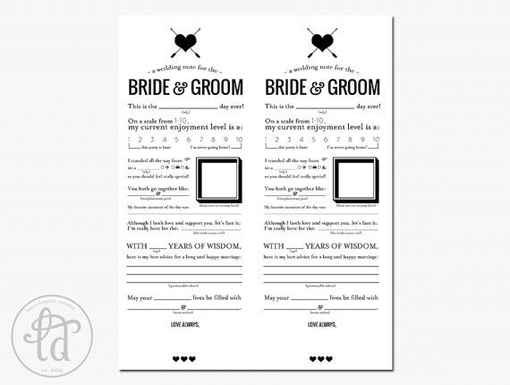 Wedding Mad Libs Printable Note for the by