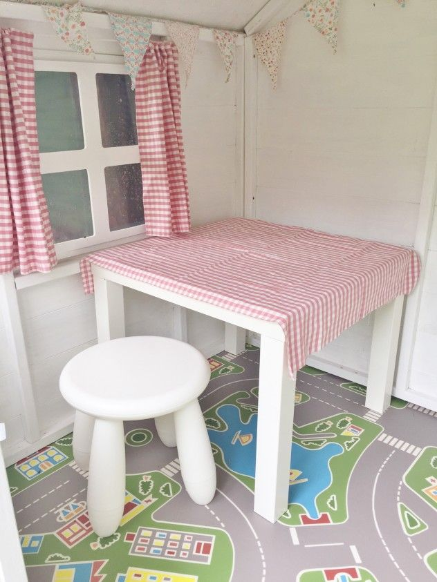 Amelia S Waltons Playhouse Interior Complete With Lino Flooring Table And Chairs Pretty Bunting