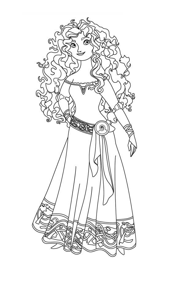 Disney Princess Merida In Brave Coloring Page Free