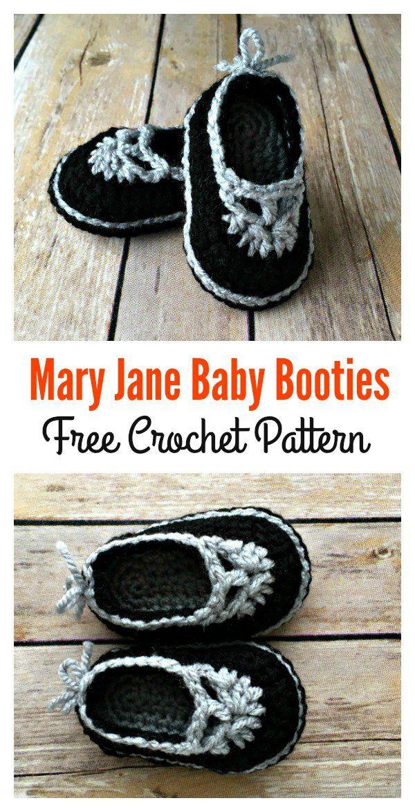 Famoso Mary Jane Bebé Libre Patrón De Tejer Botines Embellecimiento ...
