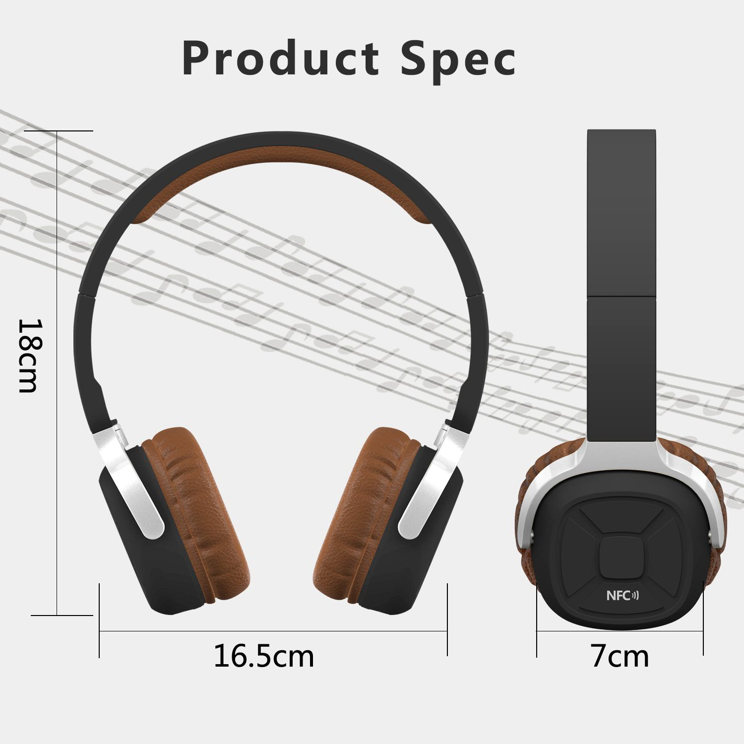 Wireless Nfc Headset Fold Bluetooth Headphones For Iphone Ios Android With Mic Pedometer Advanced Bluetooth 4 1 Technology And Bluetooth Headphones Headphones Headset