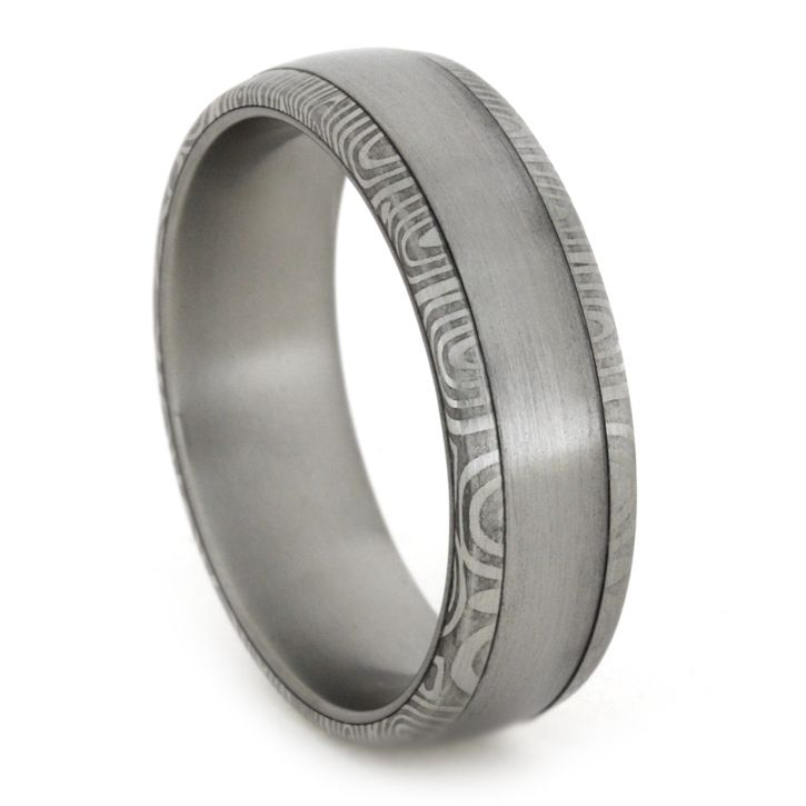 Damascus Wedding Band With Stainless Steel Sleeve Damascus Wedding Band Stainless Steel Wedding Bands Damascus Ring