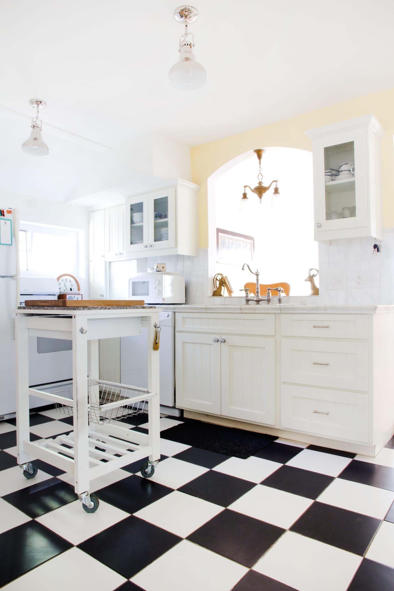 black and white checkered kitchen