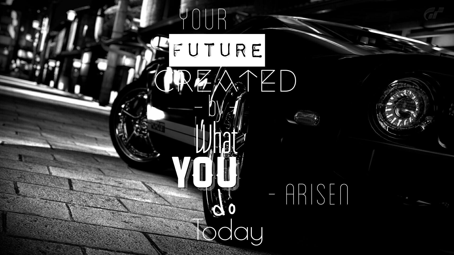 Black And White Ford Gt  With Quote