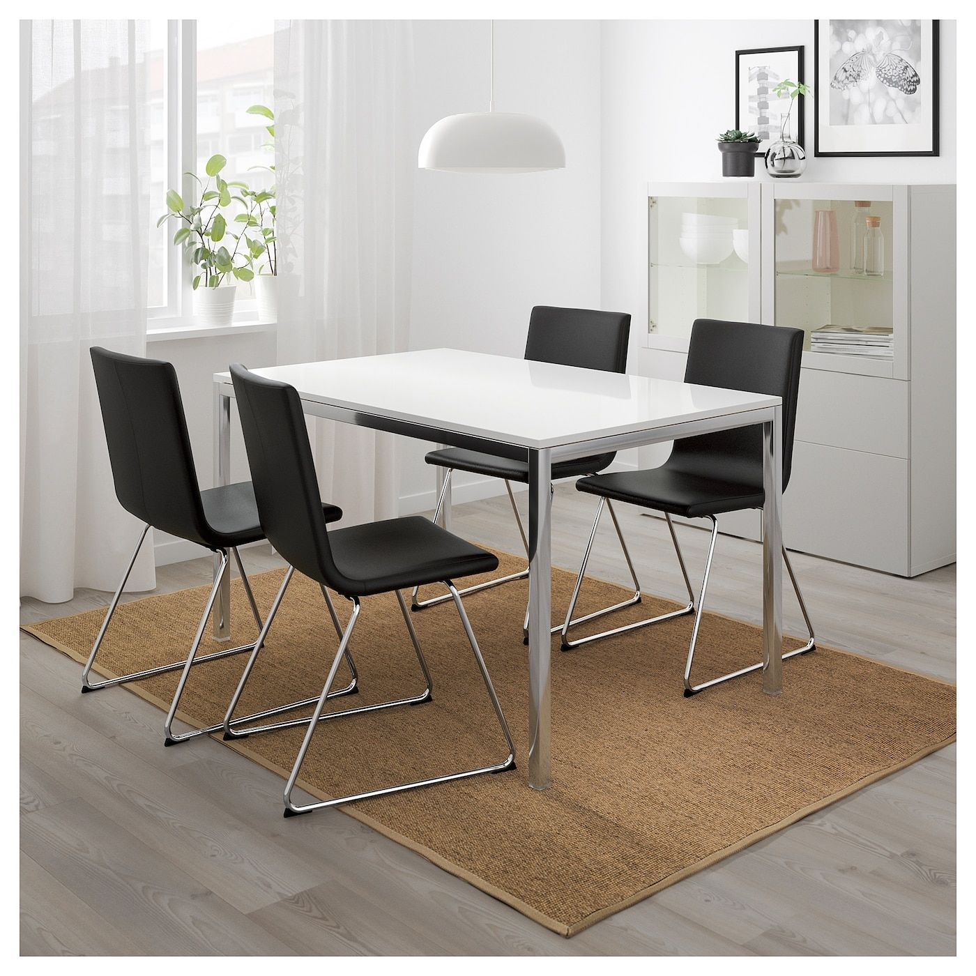 TORSBY / VOLFGANG Table and 4 chairs - high-gloss white ...