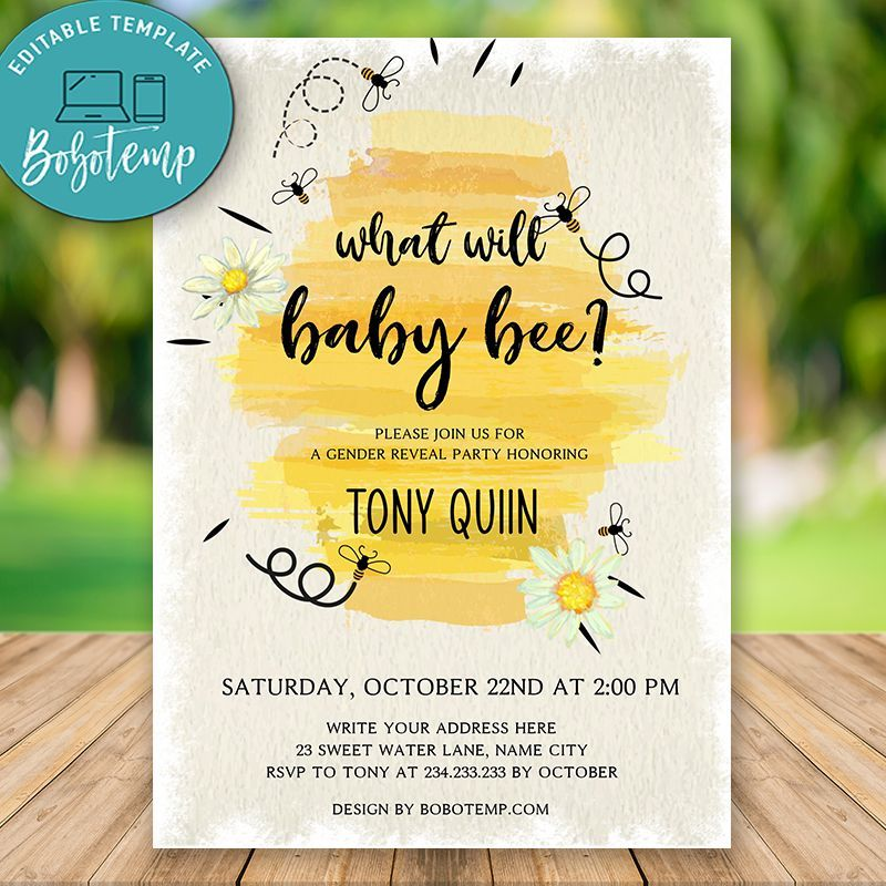Baby Bee Gender Reveal Party Invitation