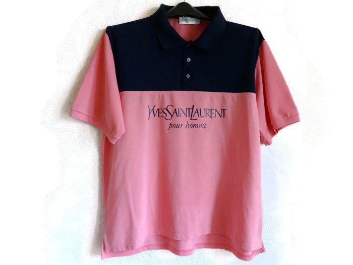 Yves Saint Laurent Men,s T shirt Pink Dark blue Polo T shirt Vintage Fashion  Summer Men Clothes XXL Size Large T shirt  Short sleeves by Vintageby2sisters on Etsy