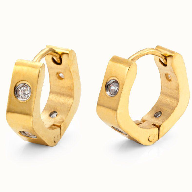 Unique Mens Hoop Earrings Stainless Steel Gold 4mm | RnBJewellery ...
