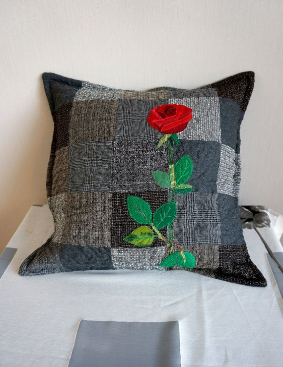 Red Rose Decorative Pillow Cover Quilted by SewingLadyQuiltings