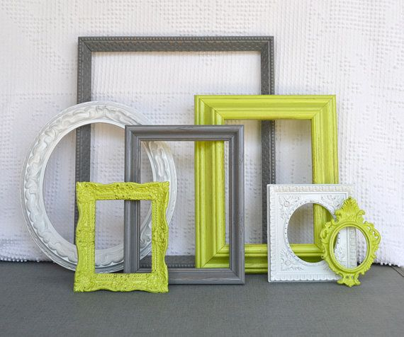 lime green, grey gray white ornate frames set of 7 - upcycled