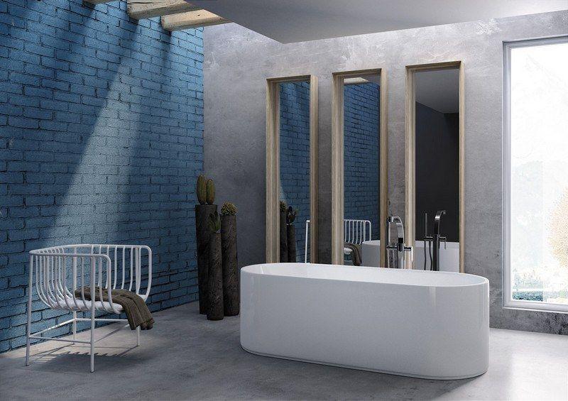 Modernes Badezimmer gestalten - unbehandelte Ziegelwand in Blau - unbehandelte ziegelwand