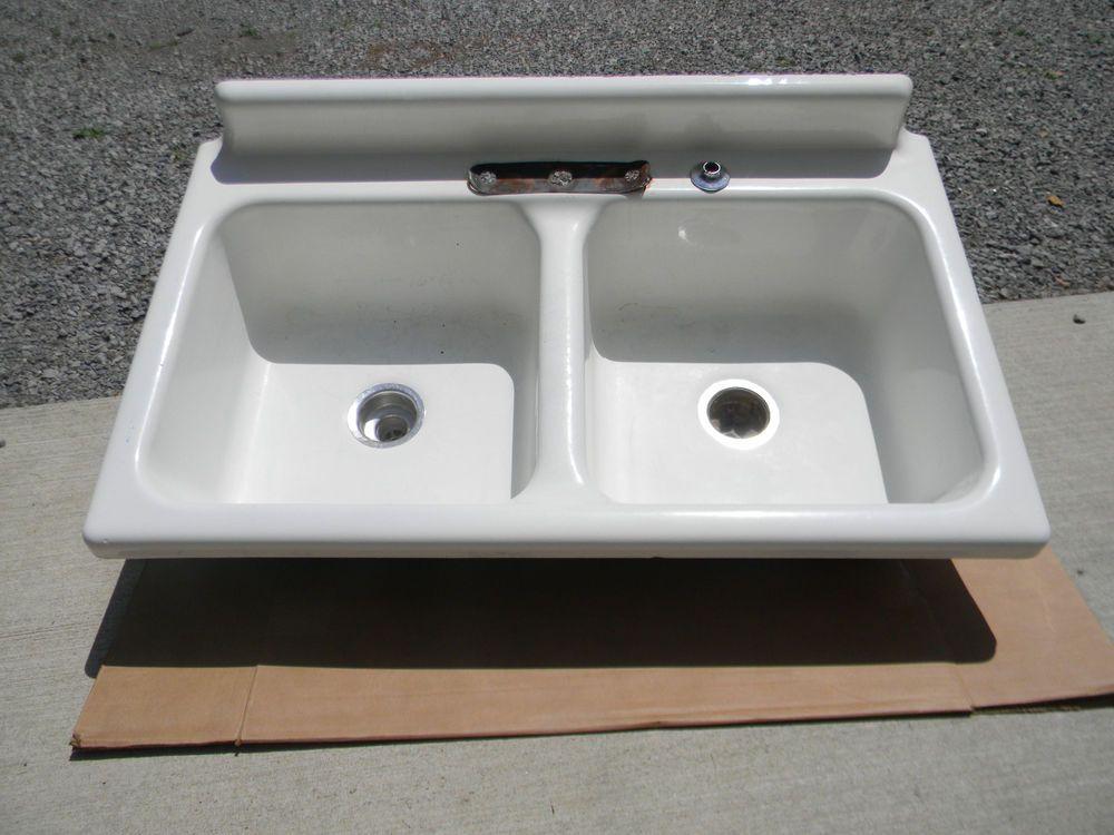 Vintage Double Farm Sink American Radiator Standard Sanitary Cast Iron 42 Farmhouse Sink Sink Farm Sink