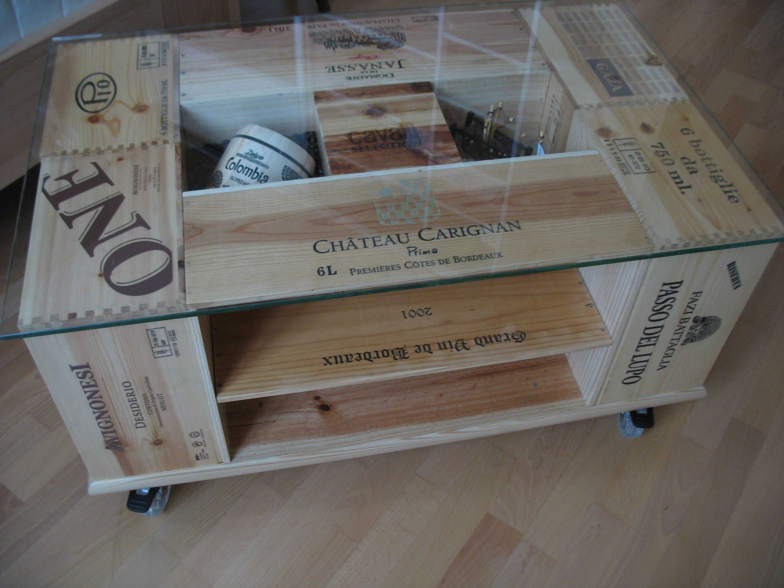 Table Basse Avec Caisse A Vin vintage wine box crate coffee table … | deco caisse de vin
