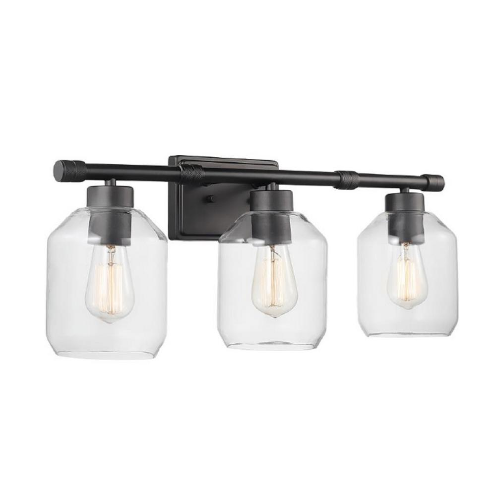 Globe Electric Books 3 Light Matte Black Vanity Light With Clear Glass Shades 51564 The Home Depot In 2020 Black Vanity Light Vanity Lighting Glass Light Shades