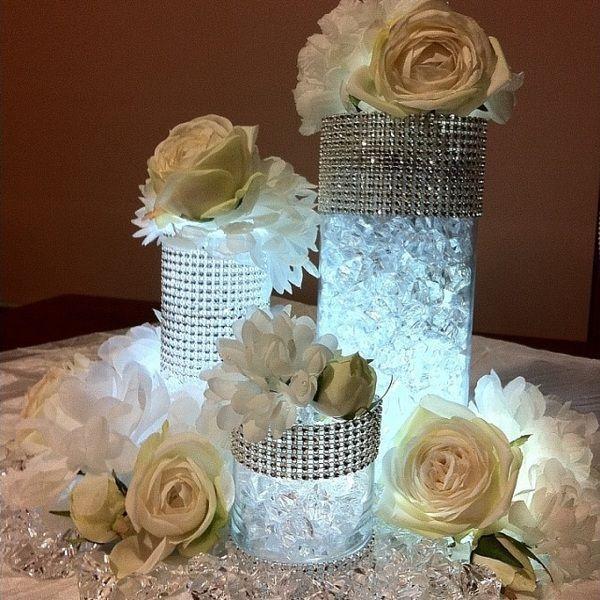Ideas para decorar su floreros de cristal nuestra boda en la playa boda decoracion bodas - Decorar jarrones de cristal ...