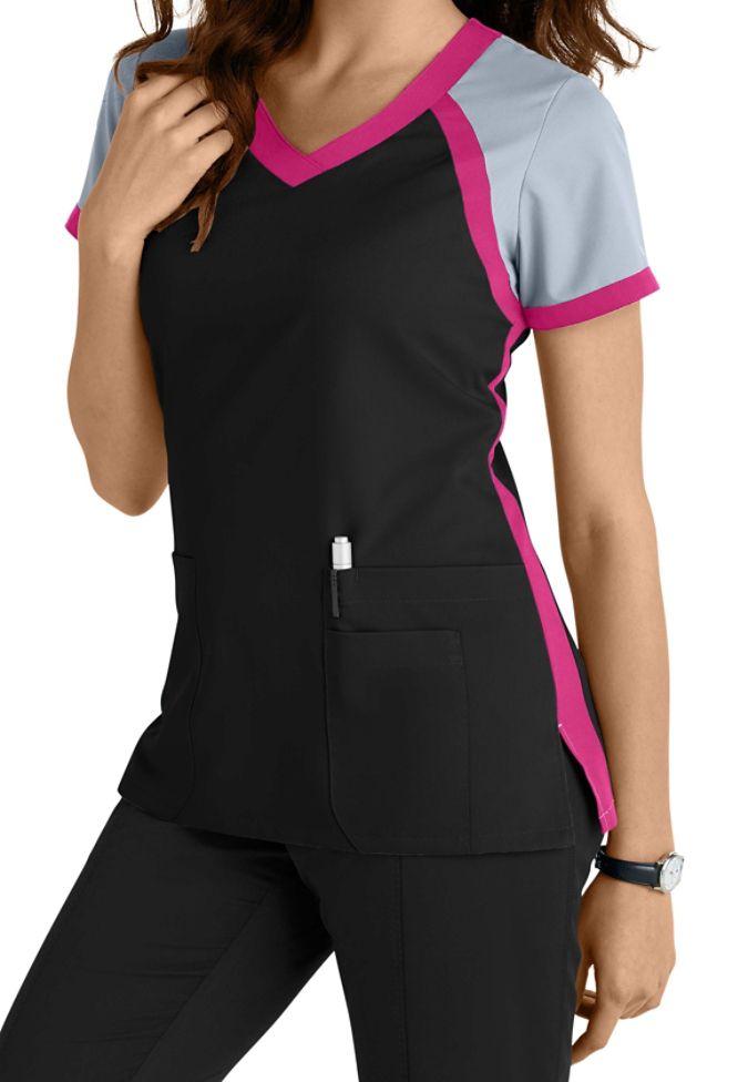 Greys anatomy 3 pocket color block v neck scrub top main for Spa uniform grey