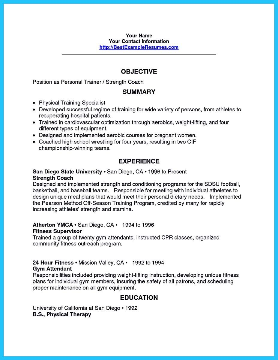 Good Beautiful It Is Relatively Easy To Write An Athletic Training Resume. To  Write It Is