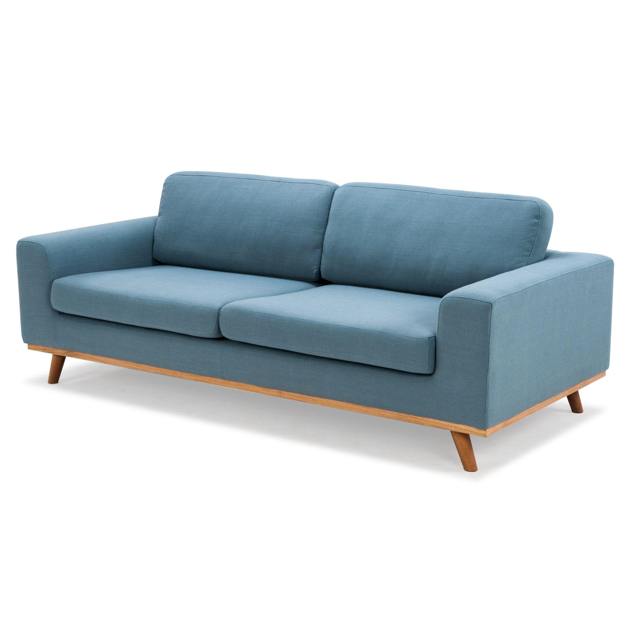 canapé en tissu avec base et pieds inclinés en bois naturel jorgen