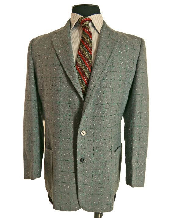 Vintage 1970s Mens Sport Jacket - Flecked Wool - Multicolored Checks - S