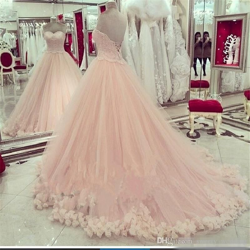2016 Pink Quinceanera Dresses Sweetheart Applique Lace Sweet 16