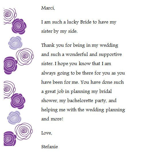 I Created These Thank You Notes For My Bridesmaids And Included It