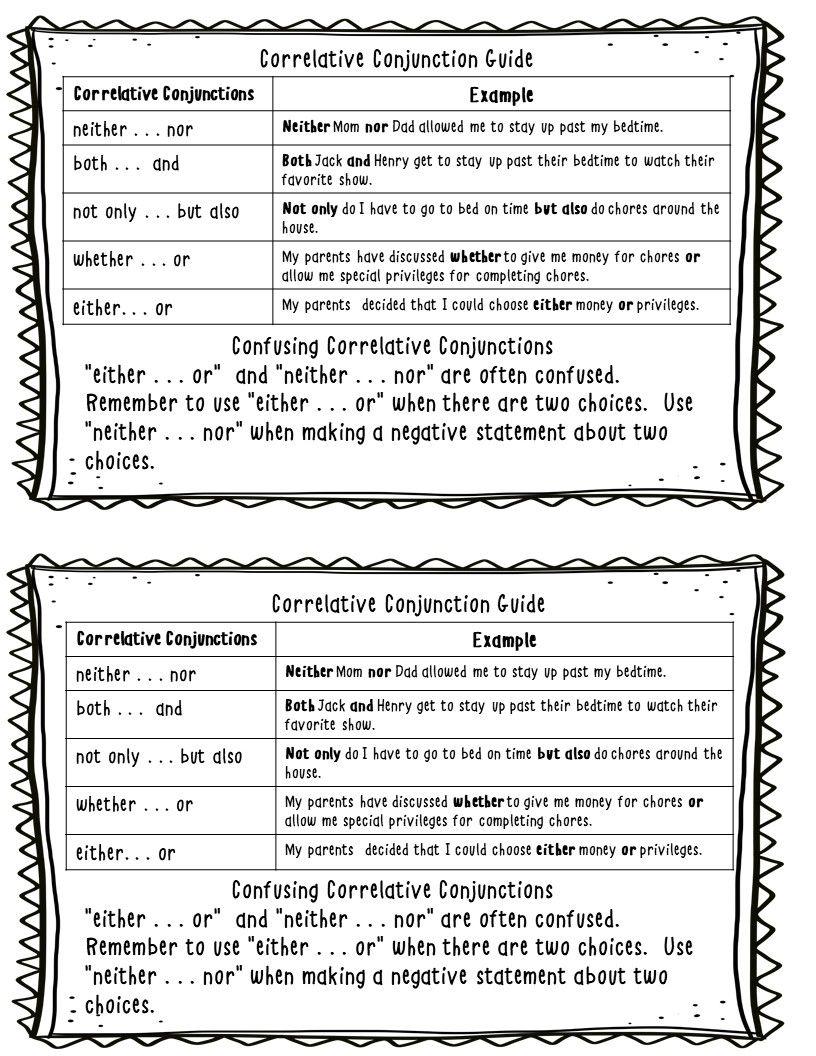 Correlative Conjunction Practice Journal Page Worksheets Editing Practice Correlative Conjunctions Conjunctions Practice Conjunctions [ 1056 x 816 Pixel ]