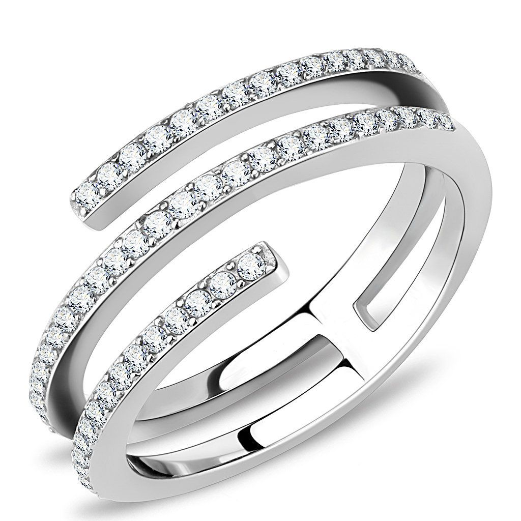 Stainless Steel Pave-Set Band Ring with Clear CZ