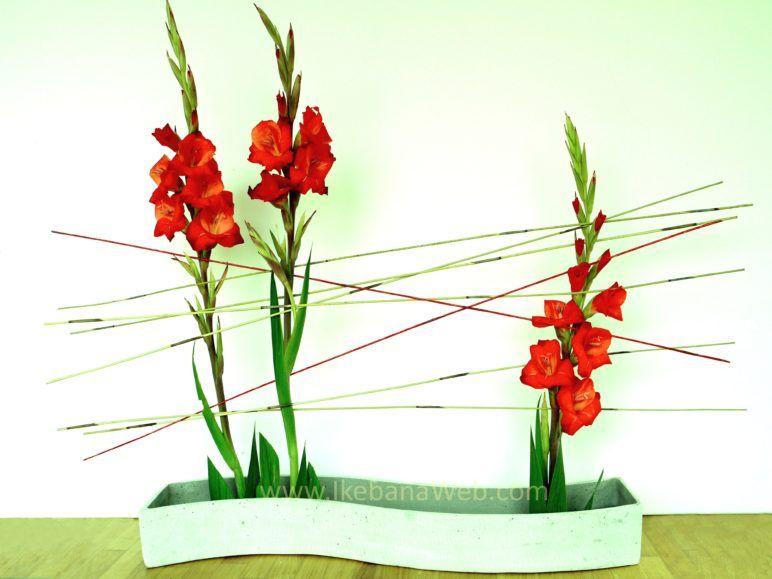 Lines in ikebana arrangementen gladiolen en riet lijnen door Ekaterina Seehaus Sogetsu school ikebana.  ikebanaweb.com