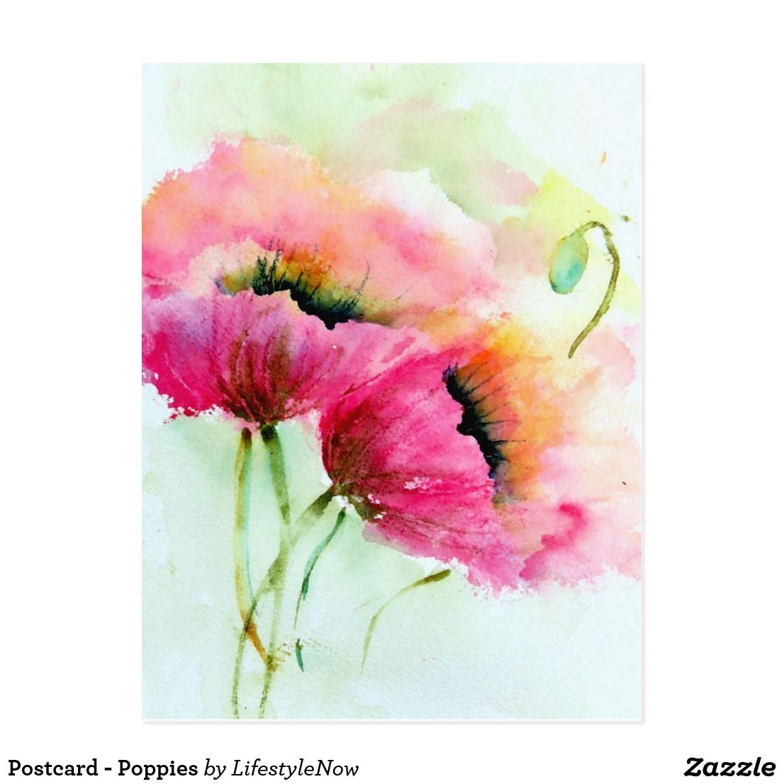 Postcard Poppies In 2020 Flower Painting Watercolor Flower Art