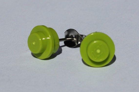 Lego Lime Green Stud Earrings