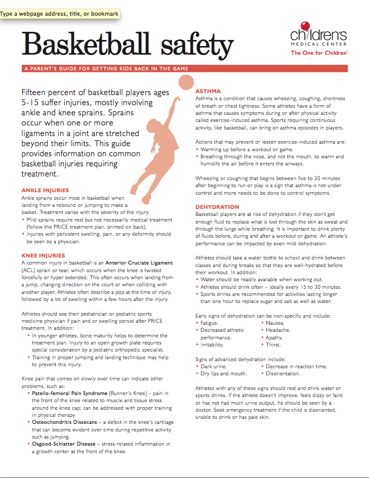 Keep your young basketball player safe with this helpful