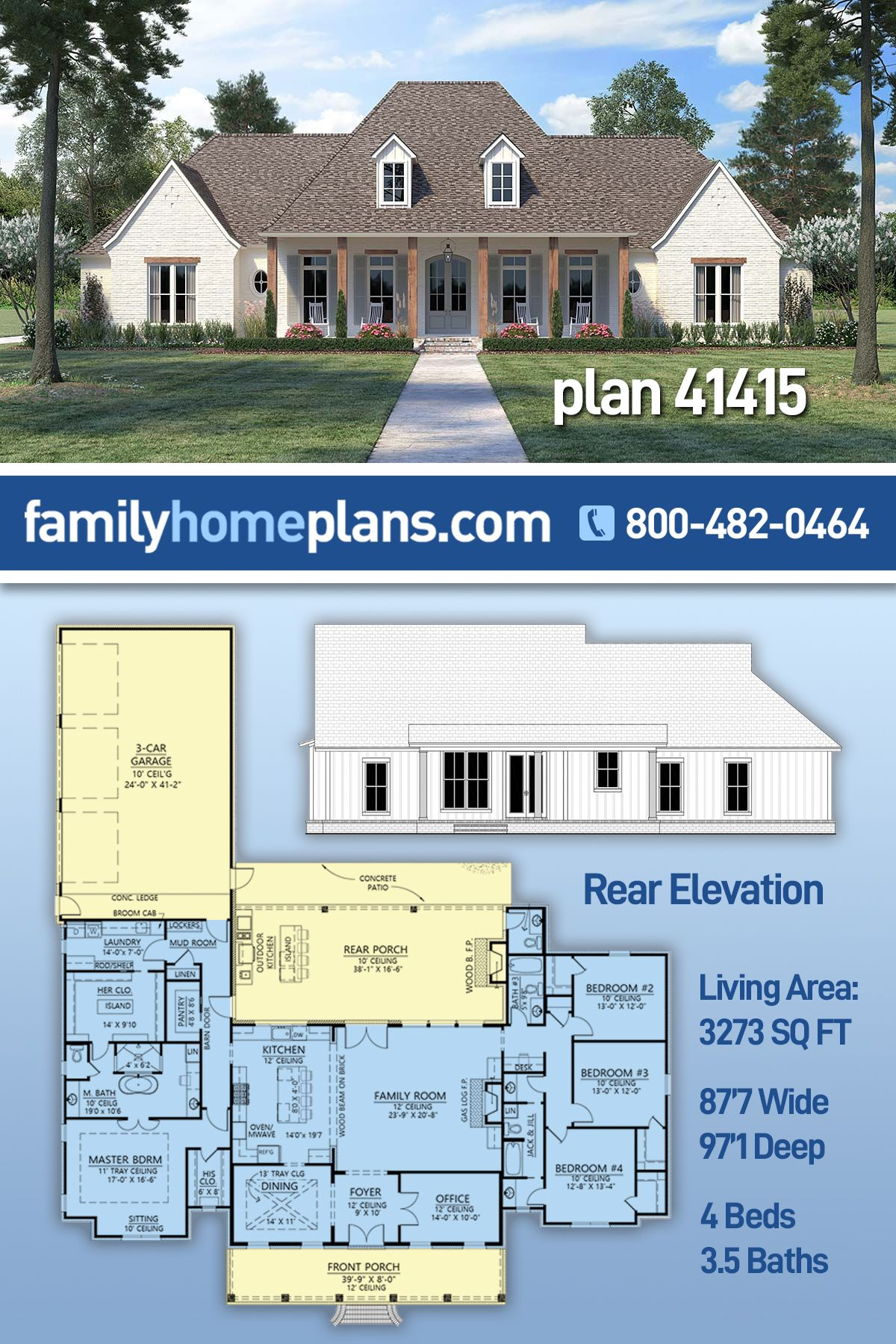 French Country Style House Plan 41415 With 4 Bed 4 Bath 3 Car Garage Country Style House Plans French Country House Plans Country House Plans