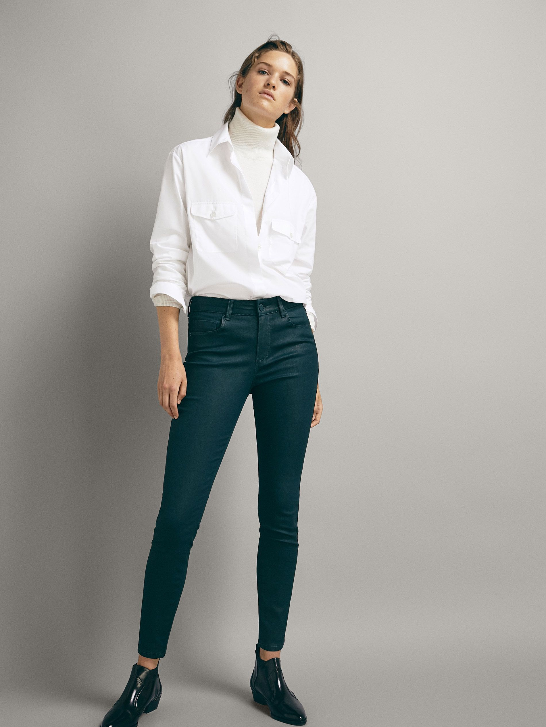 576cd4835bd6fe Mid-rise skinny fit rubberised trousers in 2019 | s t y l e | White ...