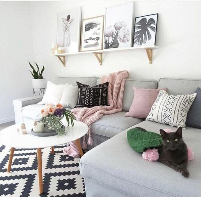 Jolie Salon Moderne Blanc Et Gris Bois | Deco salon blanc, Décoration salon gris, Salon rose