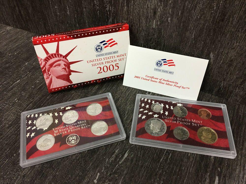 No Box//COA 2005 Proof State Quarter Set 5 Coins
