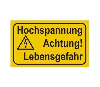 Gefahrenhinweis Schild Warnaufkleber Vorsicht Hochspannung