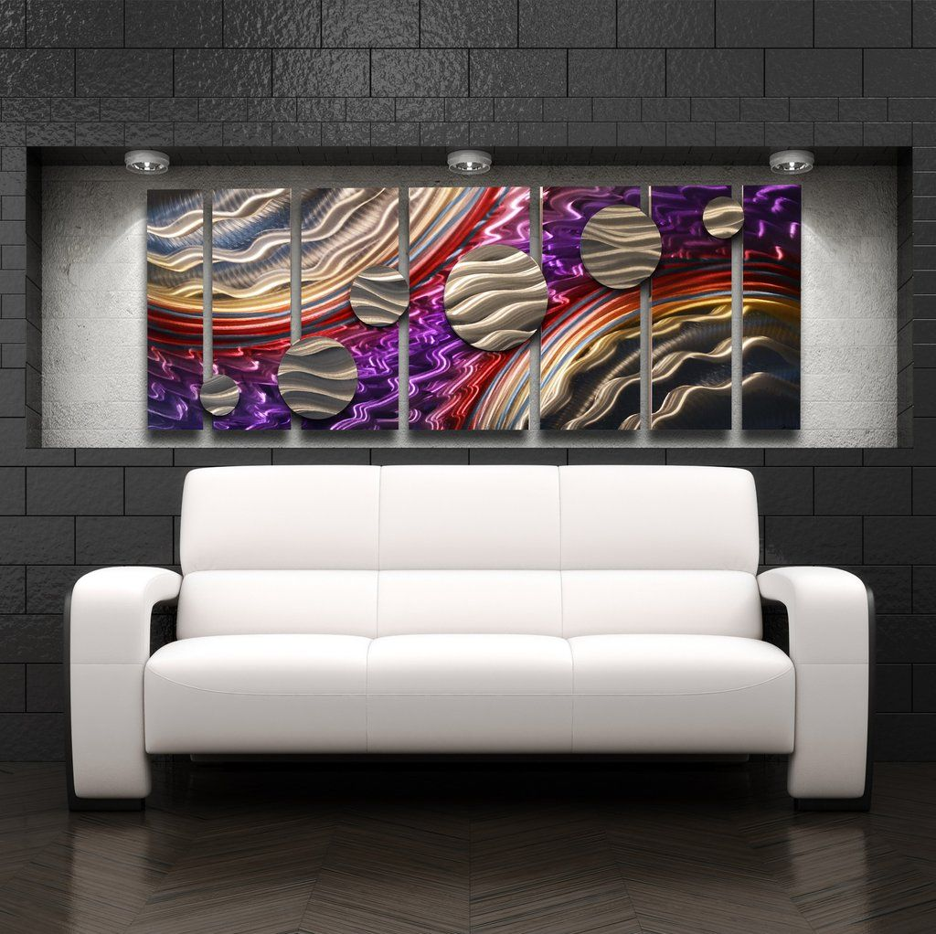 Abstract metal circles wall art