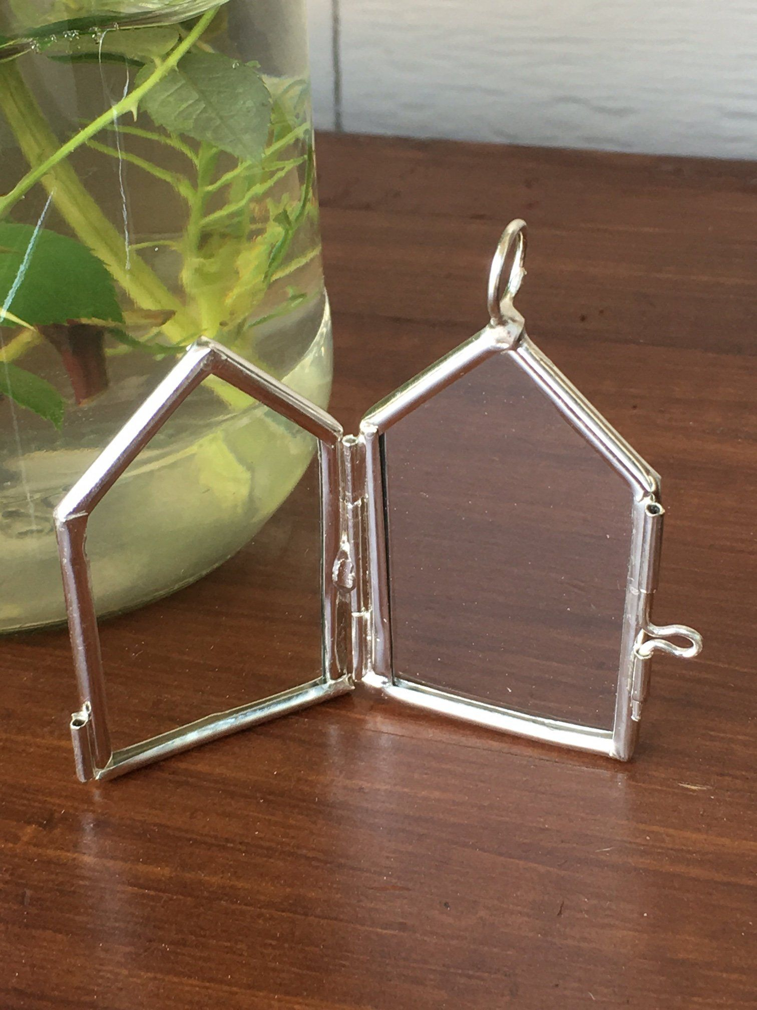 2 Silver Glass Double Sided House Shaped Hinged Lockets Photo 175 X