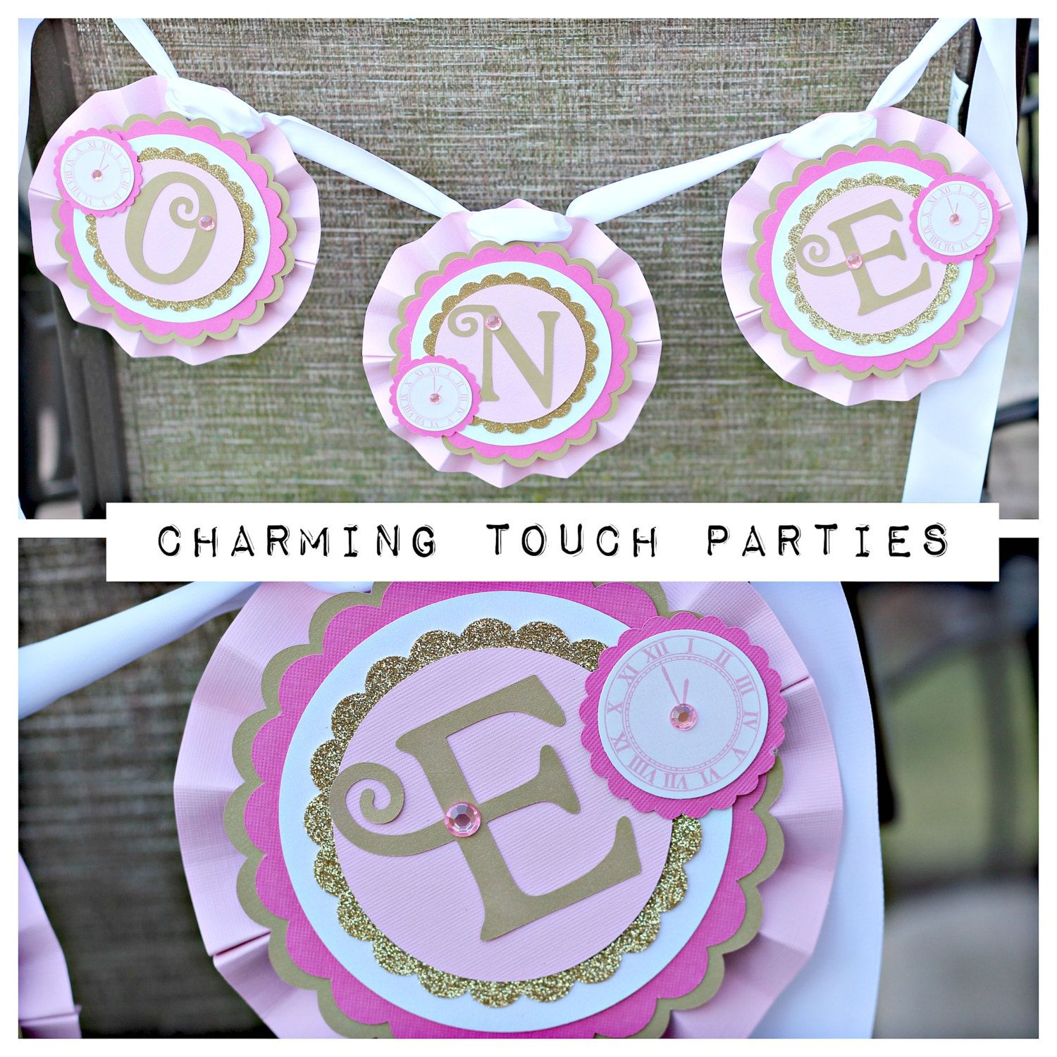New Years Birthday Party high chair banner. Pink and gold.  Fully assembled. Girl decorations. by CharmingTouchParties on Etsy