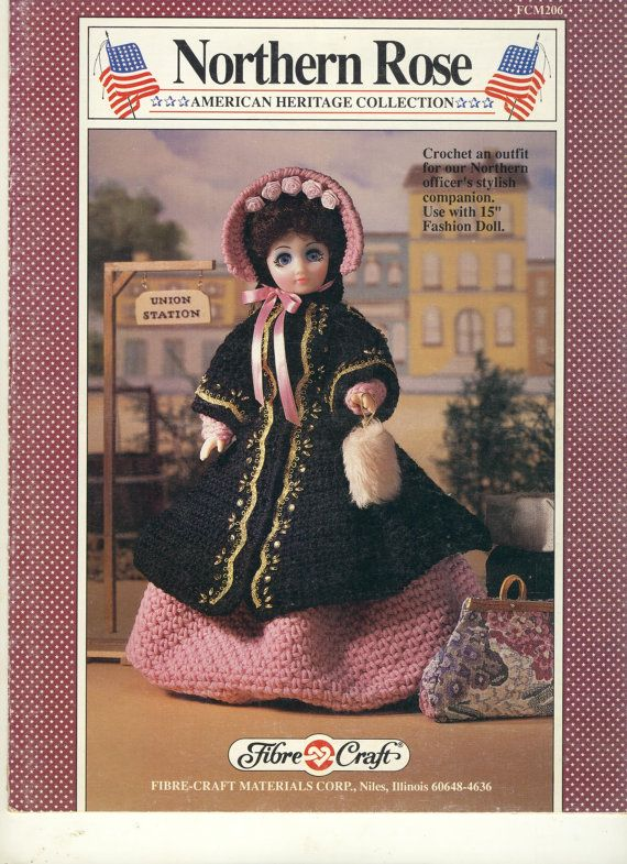 Fibre Craft 206 Northern Rose Crocheted Dress 15 Inch Fashion Doll